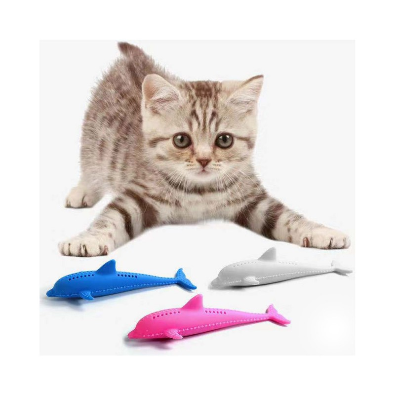 1PC Pet Soft Silicone Mint Fish Cat Toy Catnip Pet Toy Interactive Kitten Clean Teeth Toothbrush Chew Cats Toys image