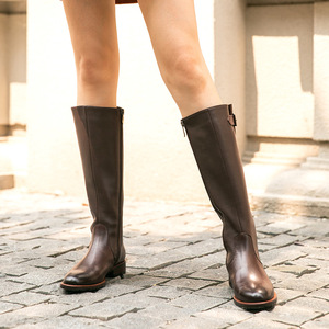 Image 3 - BeauToday Long Boots Women Cow Leather Round Toe Zipper Closure Buckle Knee High Boots Winter Fashion Lady Shoes Handmade 01215