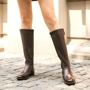 Image 3 - Beautoday botas longas mulheres de couro vaca dedo do pé redondo zíper fecho fivela joelho botas altas inverno moda senhora sapatos feitos à mão 01215