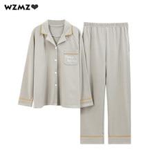 Pyjama 100% coton à manches longues pour femme, ensemble de pyjama, doux et extensible, ample, grande taille, printemps et été, 2021