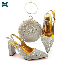 Matching Shoes Royal-Party Silver-Color Italian-Design African New-Arrival Winter