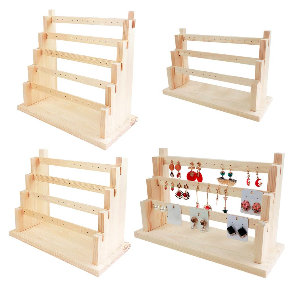 Wood Earring Stand Earring Holder Display Jewelry Display Rack Tiered Jewelry Packaging