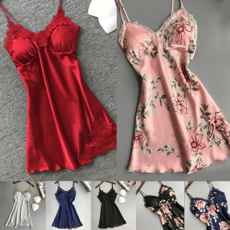 Meihuida 2019 Hot Womens Lace Floral Silk Gown Sleeveless Nightie Sexy Sleepwear Nightdress Sleeping Dresses