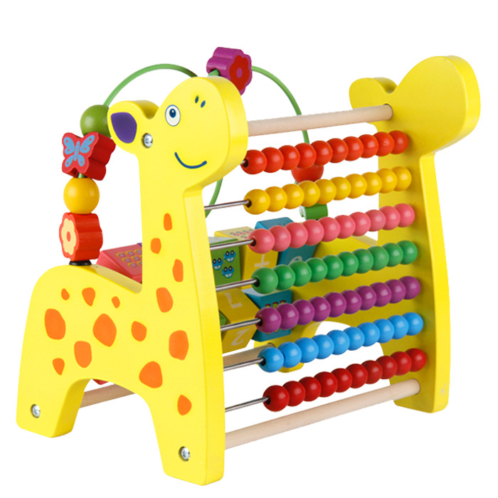 Wooden Multifunctional Deer Knocking Piano, Beaded, Calculation Stand, Flip Stand, 3-in-1 Early Childhood Educational Toys