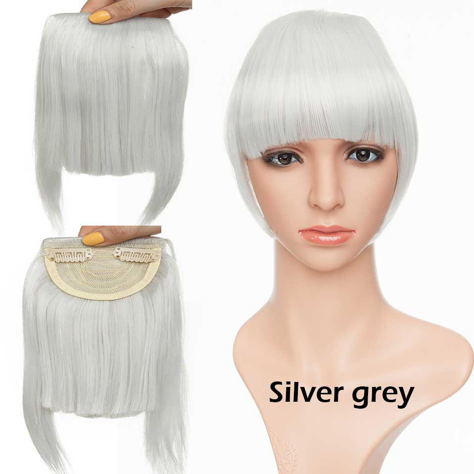SNOILITE короткие передние тупые челки Клип короткая челка волосы для наращивания прямые синтетические настоящие натуральные накладные волосы - Цвет: silver grey
