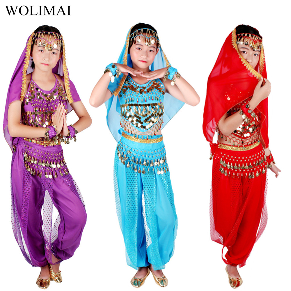 Belly Dance Costumes Kids Oriental Dance Girls Belly Dancing India Belly Dance Set Clothes Bellydance Child Kids Indian 6 Colors