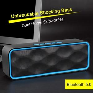 Image 2 - Loa Không Dây Bluetooth 5.0 Đèn LED Cổng USB Thẻ TF Phát Lại Đôi Sừng Loa Siêu Trầm TWS Không Dây AUX Đầu Vào Cột