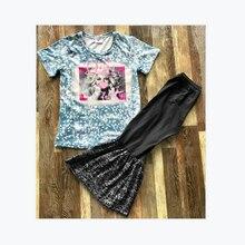 Crianças conjuntos de roupas gola redonda manga curta menina padrão neve impressão camisa e sino preto bottoms pant