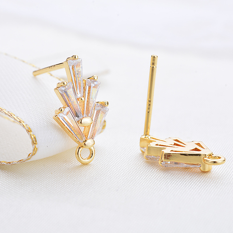 Earrings Pins Cubic Zirconia Stud 14K Gold Plated Brass with Zircon Jewelry Making Craft Earrings Findings DIY for women