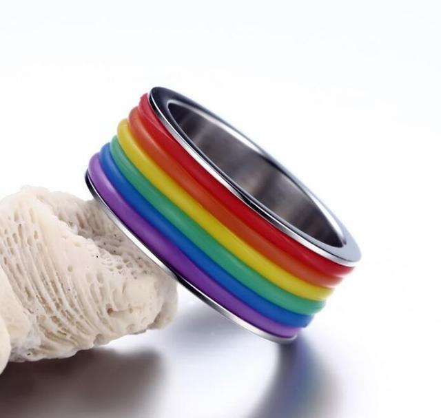 Mens Womens Rainbow Colorful LGBT Ring Stainless Steel Wedding Band Lebian & Gay Rings Drop Shipping 3
