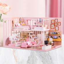 DIY Dollhouse Wooden doll Houses Miniature Doll House Furniture Kit Casa Music Led Toys for Children Birthday Gift cutebee doll house miniature dollhouse with furniture kit wooden house miniaturas toys for children new year christmas gift