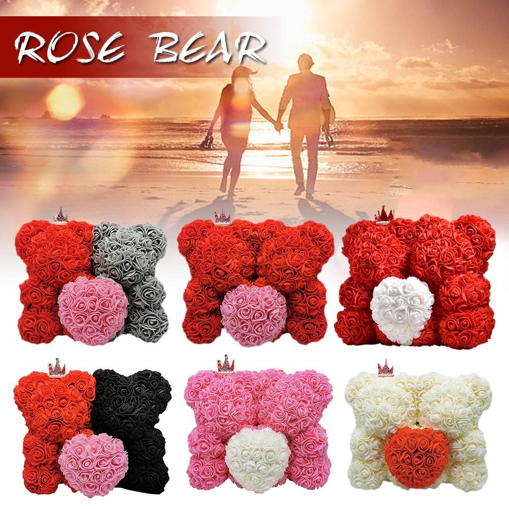 2020 NEW Valentines Day Gift 25cm Red Rose Teddy Bear Rose Flower Artificial Decoration Christmas Gifts Women Valentines Gift
