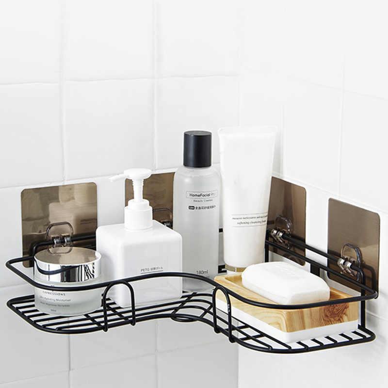 Łazienka półki półka ścienna Punch rogu ramki łazienka instalację żelazną przechowywania półki kuchenne statyw rogu ramki z 2 szczotkowany szata hak