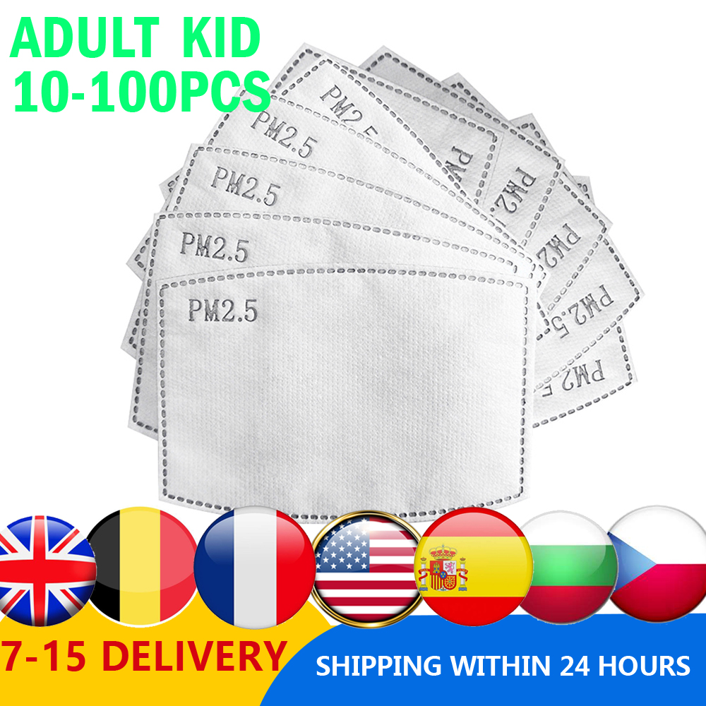 Pm25 Filter Mouth-Mask CARBON-FILTER-PAPER Activated Health-Care Anti-Haze 10-100pcs/Lot Adult Kid Dropshipping