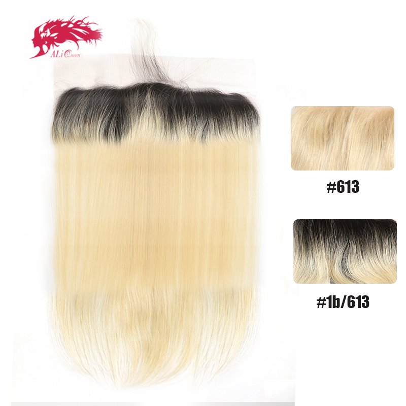 Ali Queen Hair Straight Virgin Hair Lace Frontal #613 or #1b613 13x4 Swiss Lace Brazilian Human Hair Lace Frontal Closure XP/10A image
