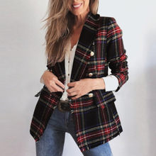 Feitong Women Blazer Plaid Patchwork Autumn Winter Fashion Long Sleeve Double Side Clothes Women Office Lady Coat пальто женское(China)