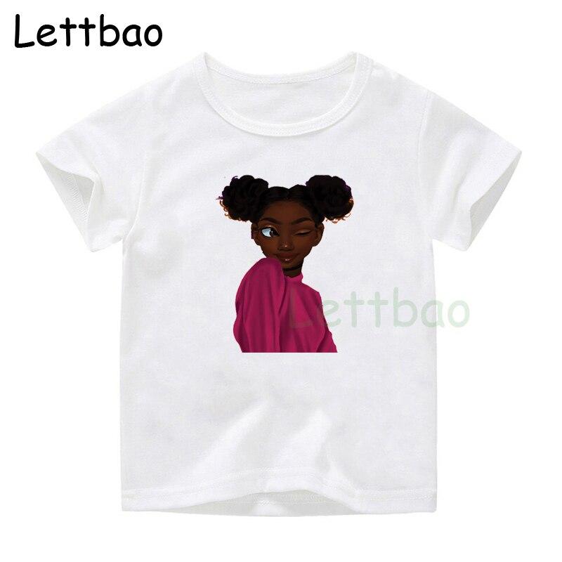 2019 Summer Fashion Yara Girls T-shirts Casual Melanin Loose Clothing Toddler Harajuku Printed Kids Tops