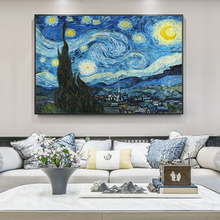 Van Gogh Starry Night Canvas Paintings On the Wall Art Posters And Prints Famous Art Impressionist Pictures For Living Room Wall 50mm van gogh art paintings refrigerator stickers starry night sunflowers fridge magnet landscape glass crystal cabochon decor