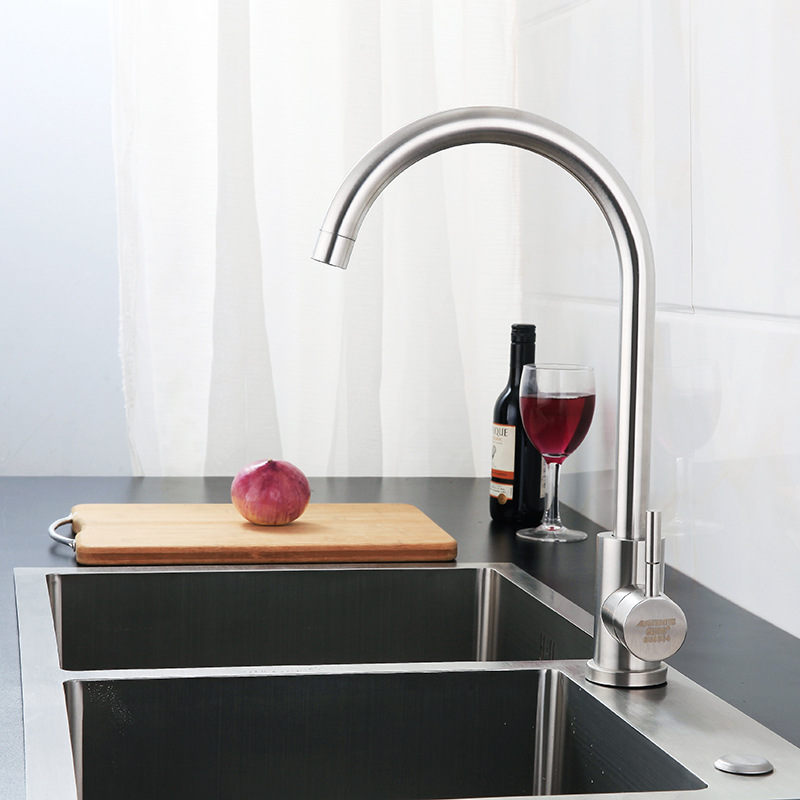 Kaiping Manufacturers 304 Stainless Steel Washing Basin Sink Rotatable Big Bend Brushed Kitchen Hot And Cold Mixing Faucet