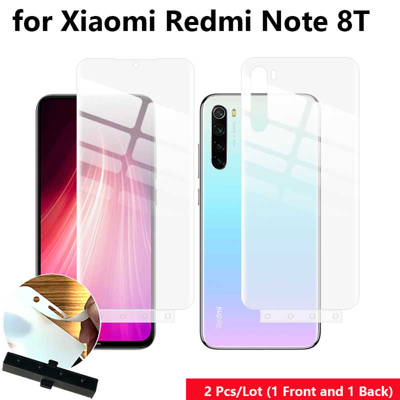 "2 Pcs/Lot Front & Back Auto Fixed Anti Finger Scratch Hydrogel Screen Protector for Xiaomi Redmi Note 8T 6.3"" Full Cover film"