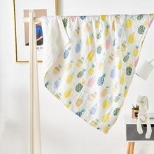 Children Cartoon Bath Wrap Towel Pineapple Animal Gauze Blanket 100%Cotton AB Side Throw For Kids Baby Home Textile 110*110cm