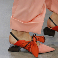 Butterfly knot Pumps Plus Size 35 42 Sexy Pointed Toe Fashion Party Shoes Patchwork Genuine Leather Slingbacks Lady Shoes