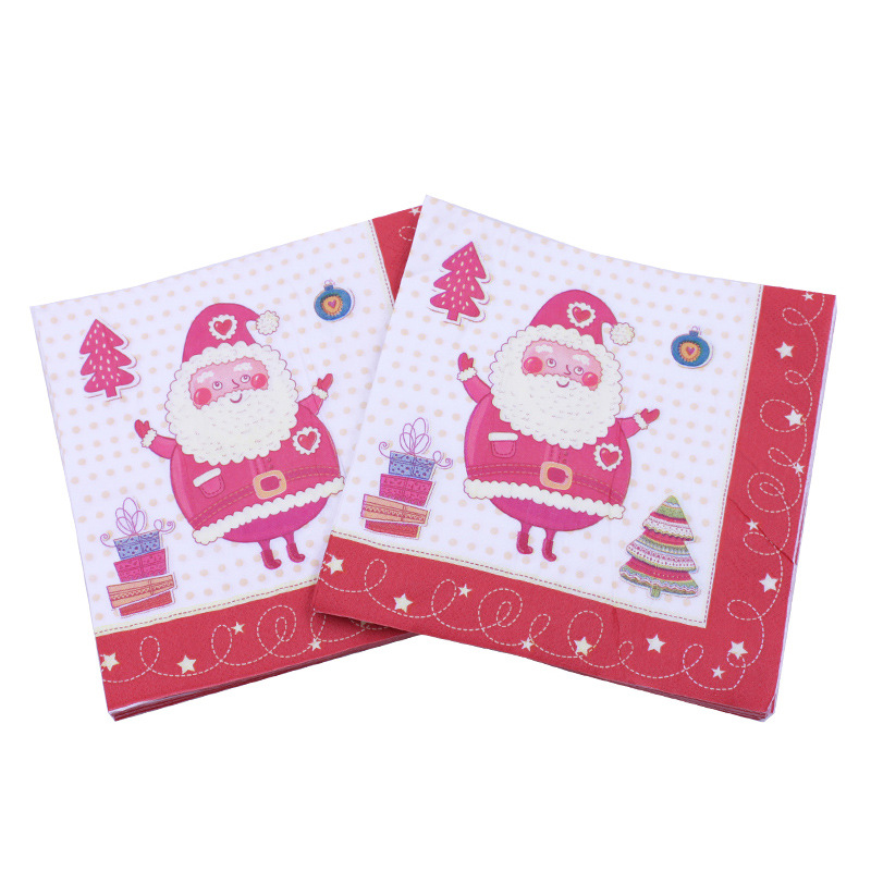 [Currently Available] Color Printed Napkin Red Santa Claus Christmas Party Bar Decoration Paper Cross Border