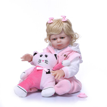 Bebe reborn doll 50cm full soft silicone reborn baby dolls com corpo de silicone menina toddler girl cat dolls gift