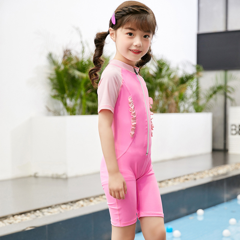 2019 KID'S Swimwear GIRL'S One-piece Small CHILDREN'S Big Boy Students Conservative Short Sleeve Women's Industry Training Quick