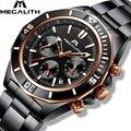 Relogio Masculino MEGALITH часы мужские спортивные водонепроницаемые военные кварцевые часы из нержавеющей стали светящиеся наручные часы с хронограф...