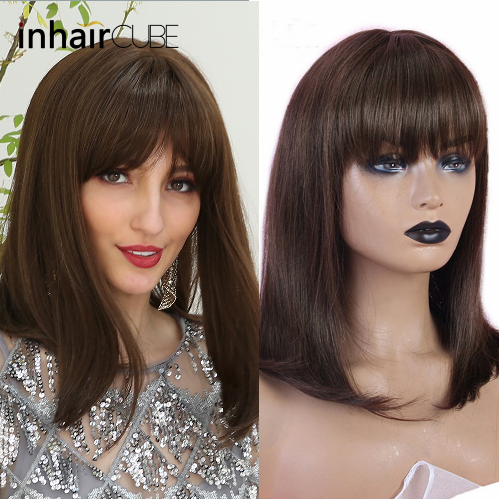INHAIR CUBE Brown Wigs For Women 50% Human Hair Long Straight Hair 50% Synthetic Wig  Medium Bangs 14