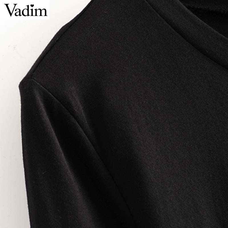 Image 5 - Vadim women chic spliced midi dress patchwork long sleeve O neck elegant female office wear mid calf dresses vestidos QC986Dresses   -