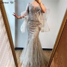فساتين سهرة بحورية البحر طويلة الأكمام بتلات ذهبية 2020 ترتر سباركل فاخر مطرز بالخرز فستان رسمي مثير Serene Hill LA70410