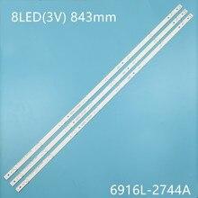 3 Pçs/set tira Retroiluminação LED Para LG 43UH610V 43UH620V 43UH610T 43UH630V 43UH603V 43 V16.5 ART3 2744 UHD 6916L-2744A 1 LC430DGE