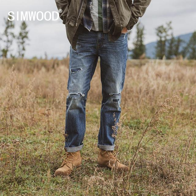 SIMWOOD 2019 autumn winter ripped jeans men patchwork streetwear denim trousers high quality  slim fit hole jean 190404