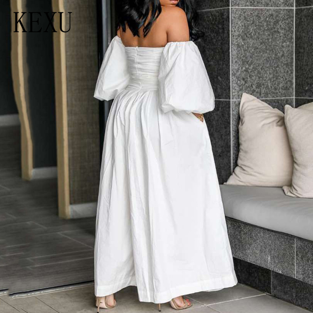 KEXU Sexy Off Shoulder Wide Leg Jumpsuits with Belt for Women Female Casual Loose Playsuits Summer Office Rompers Plus Size 3XL in Jumpsuits from Women 39 s Clothing