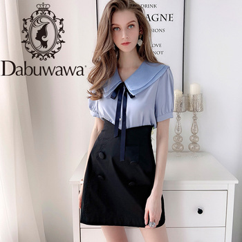 Dabuwawa Streetwear High Waist Double Breasted Skirts Women Office Lady  Elegant A-Line Solid Mini Skirt Female DN1ASK005 dabuwawa single breasted solid pocket patched skirts women high waist office ladies casual slim fit a line skirt d18bsk005