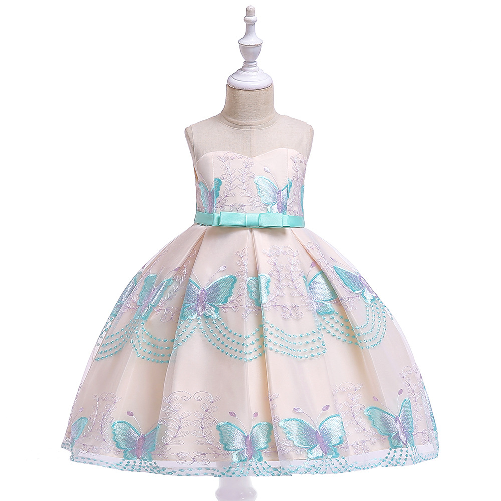3-8T Cute Sweetheart Bow Belt   Flower     Girl     Dress   Puffy Floor Length Baby   Girl     Dresses