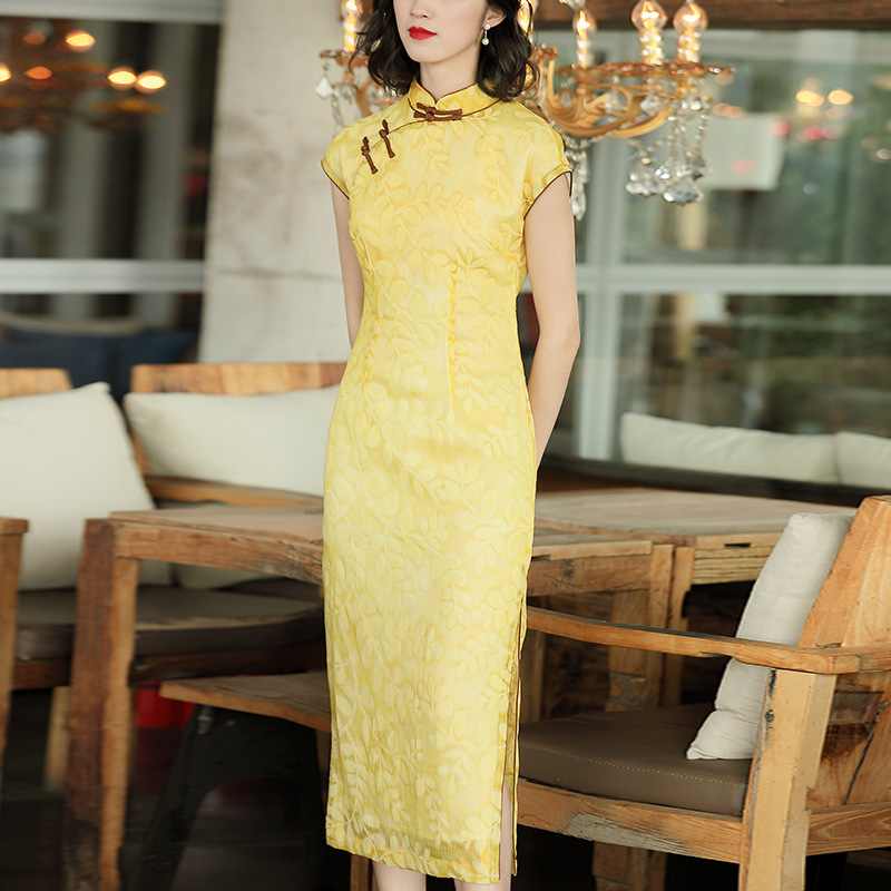 [Agent Main Push Have Preferential Price] 2019 Spring And Summer Glorious Improved Flocked Mid-length Cheongsam Dress 90126