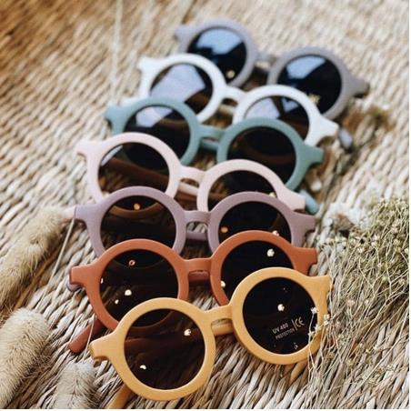 2021 New Children's Sunglasses Infant's Retro Solid Color Ultraviolet-proof Round Convenience