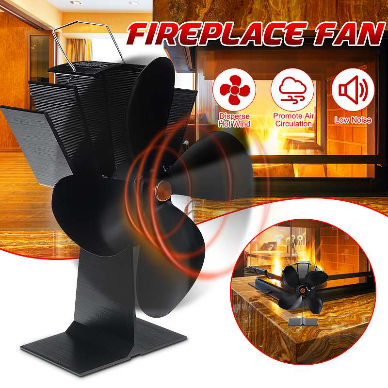 4 Blade Heat Powered Stove Fan Black Fireplace Fan Burner Eco Friendly Quiet Fan Home Fireplace Fan Efficient Heat Distribution