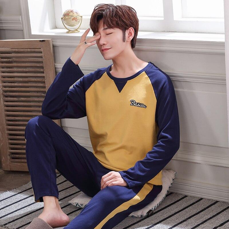 Men Pajama Full Cotton O-neck Sleepwear Men Raglan Sleeves  Splice Home Clothes Plus Size L-4XL High Quality Male Underwear Set