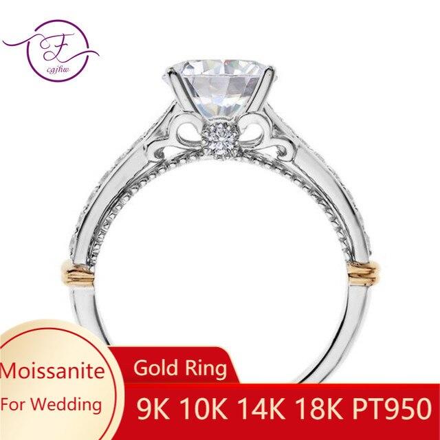 14K 585 białe i różowe złoto dwa odcienie 1ct 6.5mm EF kolor obrączka Moissanite dla kobiet