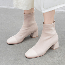Plus Size 34-43 New Slim Stretch Ankle Boots for Women Square Toe Sock Boots Square High Heel Boots Shoes Woman Fashion Feminina