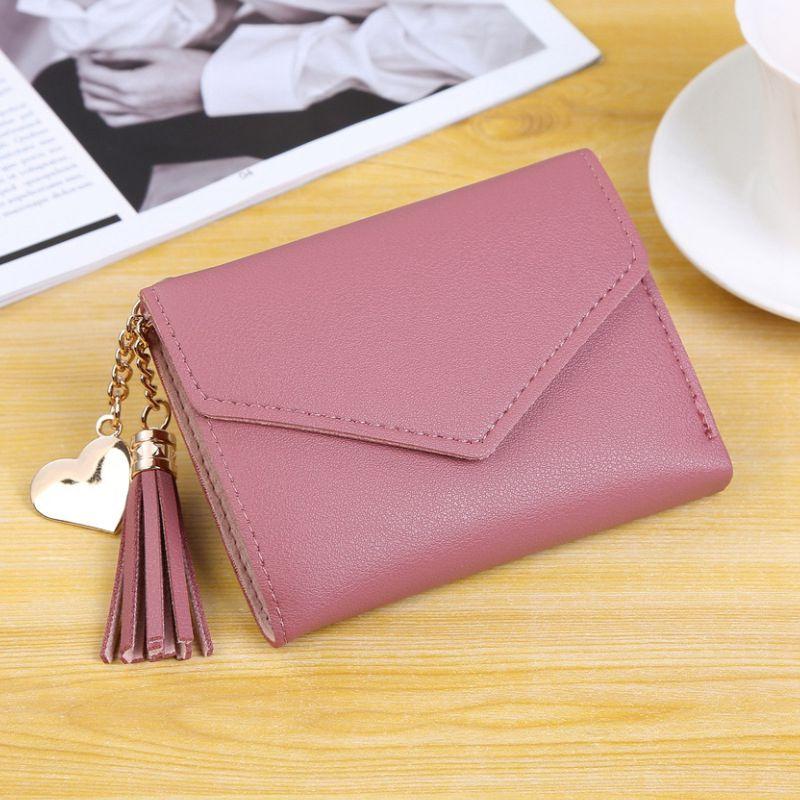 Женский кошелек, милый, студенческий, с кисточкой, с подвеской, тренд, маленький, модный, кожзам, кошелек,, кошелек для монет, для женщин, дамская сумка для карт, для женщин, LMJZ - Цвет: Watermelon red