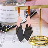 South Korea titanium steel earrings female fashion personality temperament geometric irregular long earrings girl ins style