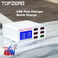 شاحن USB 3.0 18 واط ، شحن سريع ، محور USB مع 6 منافذ LED ، محول متعدد المنافذ ، لهاتف iphone 11 xiaomi