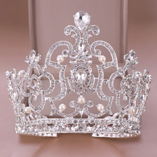 Luxury Round Rhinestone Crystal Wedding Crown Bride Tiaras And Crowns Queen Diadem Pageant Crown Bridal Hair Jewelry Accessories цена 2017