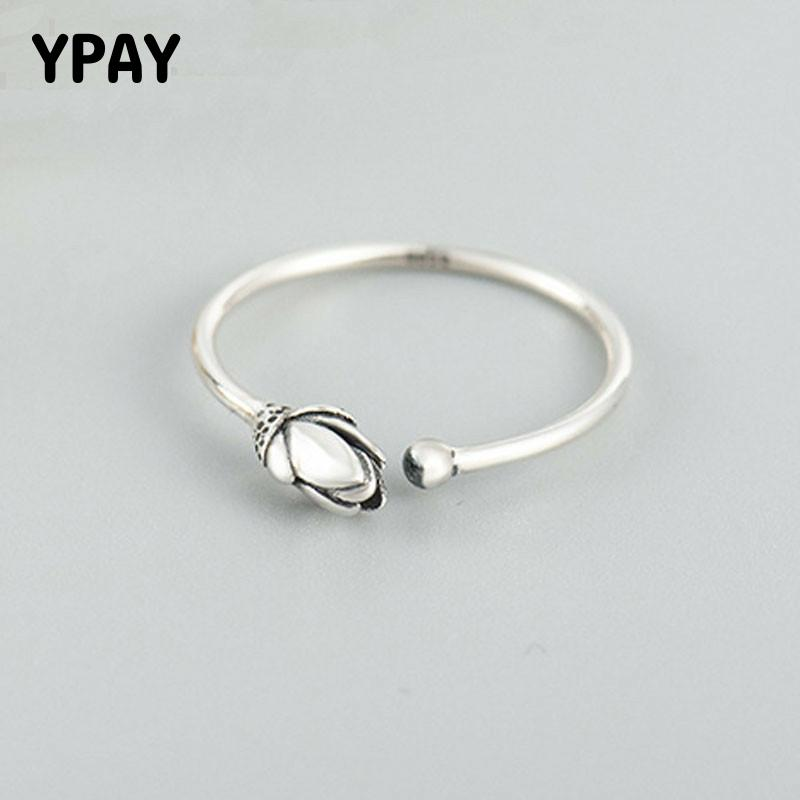 YPAY Genuine 925 Sterling Silver Open Rings For Women Ladies Vintage Lotus Flower Adjustable Finger Ring Fine Jewelry YMR383