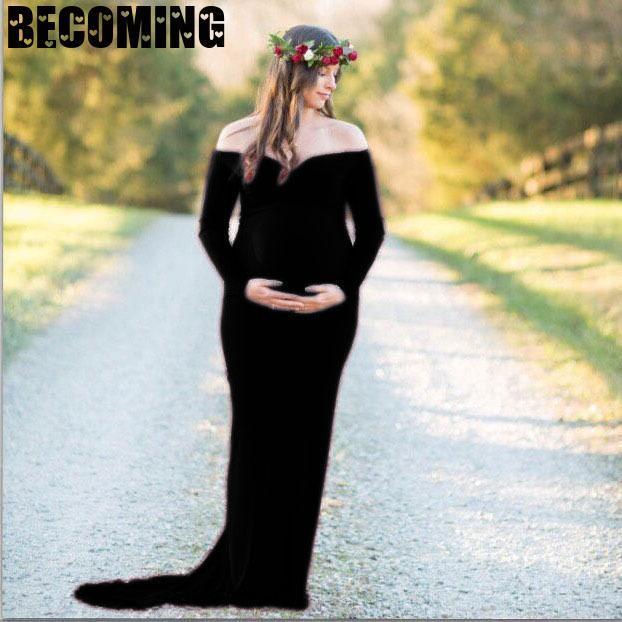 Matenity V Neck Long Sleeve Dress For Photoshoot 3